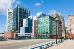 Bâtiments modernes dans le secteur financier à Boston - Etats-Unis Images libres de droits