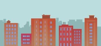 Bâtiments plats de ville sur le fond bleu Photo stock