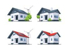 Bâtiments résidentiels de maison d'eco de toit de famille Image libre de droits