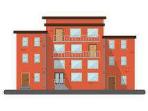 Bâtiments résidentiels plats de paysage de ville de maison de brique Photographie stock libre de droits