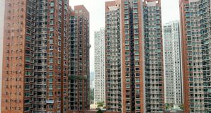 Bâtiments résidentiels typiques en Hong Kong Images libres de droits