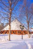 Bâtiments ronds dans la neige Image libre de droits
