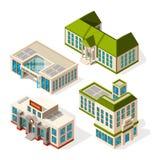 Bâtiments scolaires Photos 3d isométriques des bâtiments d'école ou d'institut illustration de vecteur