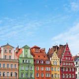 Bâtiments sur la place médiévale du marché à Wroclaw, Pologne images stock