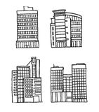 Bâtiments tirés par la main d'affaires illustration stock