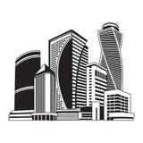 Bâtiments tour, paysage urbain illustration de vecteur