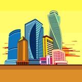 Bâtiments tour, paysage urbain, coucher du soleil Photos libres de droits