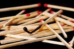 Bâton brûlé d'allumette Photo libre de droits