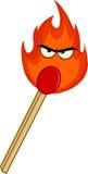 Bâton brûlant de match avec la flamme mauvaise Photographie stock libre de droits