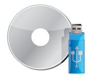 Bâton d'USB sur la pile CD Photos stock
