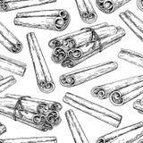 Bâton de cannelle et modèle sans couture attaché de groupe Retrait de vecteur illustration de vecteur