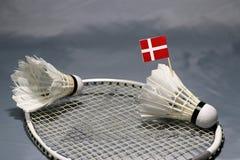 Bâton de drapeau de Mini Denmark sur le volant mis sur le filet de la raquette de badminton et d'un volant photos libres de droits
