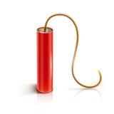 Bâton de dynamite avec le fusible brûlant de bickford illustration libre de droits