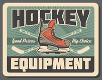 Bâton de hockey, galet et patin de glace Équipements de sport illustration stock