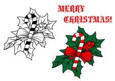 Bâton de sucrerie de Noël avec le houx illustration stock
