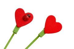 Bâton rouge en bois de forme de coeur Image libre de droits
