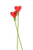 Bâton rouge en bois de forme de coeur Photos libres de droits