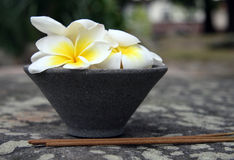 Bâtons d'Aromatherapy et bac gris avec des fleurs photographie stock