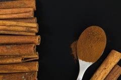 Bâtons de cannelle et poudre de cannelle dans la cuillère de thé Photographie stock libre de droits