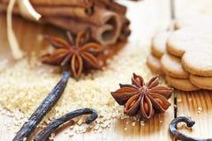 Bâtons de cannelle, sucre roux et étoiles d'anis Image stock