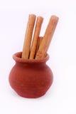 bâtons de cannelle sur un fond blanc Images stock