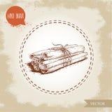 Bâtons de cannelle tirés par la main de style de croquis attachés avec la ficelle D'isolement sur le fond de vintage illustration de vecteur