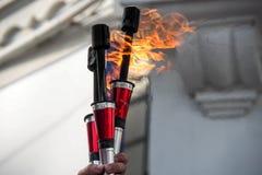 Bâtons de diable du feu image stock