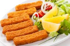 Bâtons de poisson frits Photos stock
