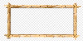 Bâtons en bambou réalistes bruns de cadre en bois de rectangle avec l'espace de copie illustration libre de droits