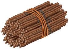 Bâtons en bois dans le grand paquet illustration de vecteur