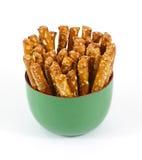 Bâtons intéressants de pretzel de vue Images stock