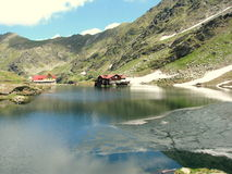 Bâlea Lake. Is a glacier lake situated at 2,034 m  altitude in the Făgăraş Mountains, in central Romania, in Sibiu County Royalty Free Stock Photo