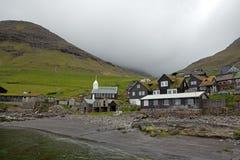 Bøur Faroe Island, Danmark, VÃ-¡ gar Arkivbilder