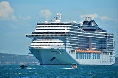 Búzios Brazylia, Luty, - 24, 2013: Statek wycieczkowy zakotwiczający Obraz Stock