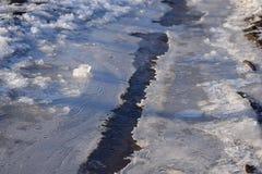Bäche, die während der Frühlingsschneeschmelze entstanden sind stockfoto