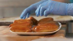 Bäcker, der gebackene Pastetchen vom Behälter auf Teller auf Küche bakerhouse Abschluss aufstellt stockbilder