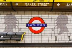 Bäcker-Straße und Sherlock Holmes stockbilder