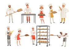Bäckercharaktere stellten mit Brot und Kochenwerkzeuge ein Glückliche Menschen in den Schutzblechen und Hüte, junge Männer und Fr vektor abbildung