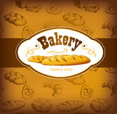 Bäckerei-Brot Nahtloses Hintergrundmuster Stockfotos