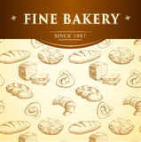 Bäckerei-Brot Nahtloses Hintergrundmuster Lizenzfreie Stockfotos