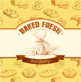 Bäckerei-Brot Nahtloses Hintergrundmuster Aufkleber verpacken für Brot, Stangenbrot, Laib, der Kuchen, gebacken, Hörnchen, Brötch lizenzfreie abbildung