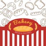 Bäckerei-Brot und Pasteten-rot und weißervektor Lizenzfreie Stockbilder