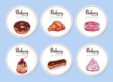 bäckerei Bunte Sammlung Aufkleber Vektorhand gezeichnete Abbildung Stockfoto