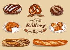Bäckerei eingestellt mit Brot lizenzfreie abbildung