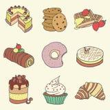 Bäckerei-Gebäck-Hand gezeichneter Illustrations-Vektor-Satz Lizenzfreie Stockbilder