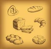 Bäckerei. Laib, Stangenbrot, Backwaren, Hörnchen, Cu stock abbildung