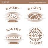 Bäckerei, Logo eingestellt auf weißen Hintergrund Lizenzfreie Stockfotos