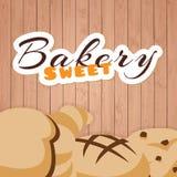 Bäckerei-süßer hölzerner Hintergrund-Vektor Lizenzfreies Stockbild