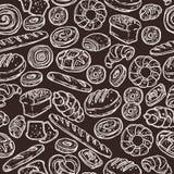Bäckerei-Skizzen-Muster auf Tafel Lizenzfreie Stockfotografie