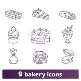Bäckerei-und Gebäck-dünne Linie Hand gezeichnete Ikonen lizenzfreie abbildung
